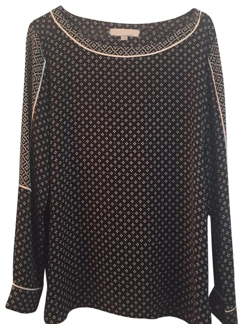 Preload https://img-static.tradesy.com/item/25647932/ann-taylor-loft-black-and-cream-blouse-size-12-l-0-1-650-650.jpg