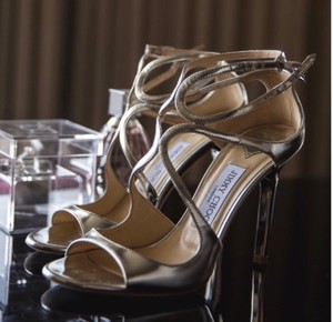 Jimmy Choo Silver Lang 37.5 Sandals Size US 7.5 Regular (M, B)