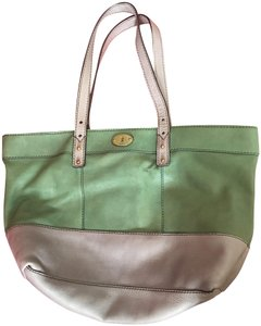 Fossil Shoulder Leather Tote in Gray and green