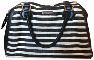 Kate Spade Striped Leather Canvas Hobo Bag