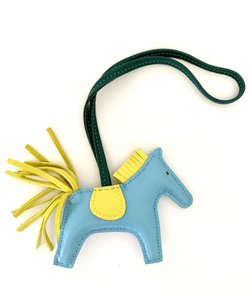 Hermès Rodeo pm Grigri horse Charm Celeste Blue Malachite Yellow