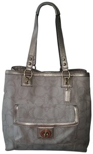 Coach Hang Tag Tote in Linen/Metallic Gold