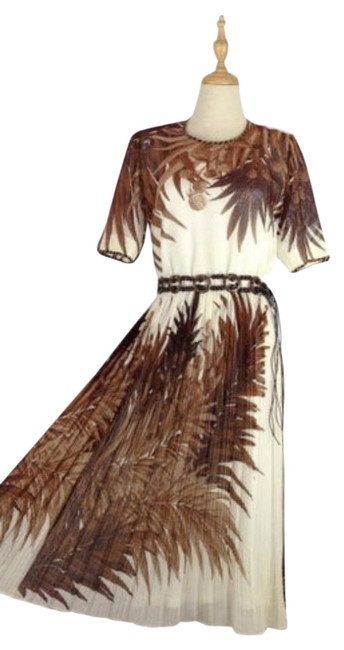 Item - White and Brown Boho Palm Mid-length Short Casual Dress Size 6 (S)
