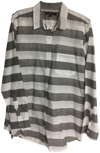 Item - Gray and White Striped Cotton Shirt Button-down Top Size 12 (L)