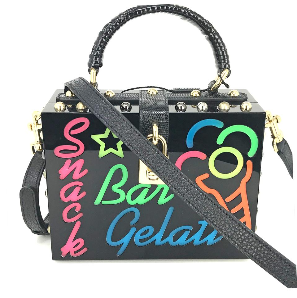 Dolce&Gabbana New Plexi Led Light Sicily Black 10% Vegetable Fiber 70%  Plexiglass 20% Leather Cross Body Bag 42% off retail