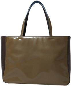 Prada Patent Leather Metallic Tote in Taupe Mustard