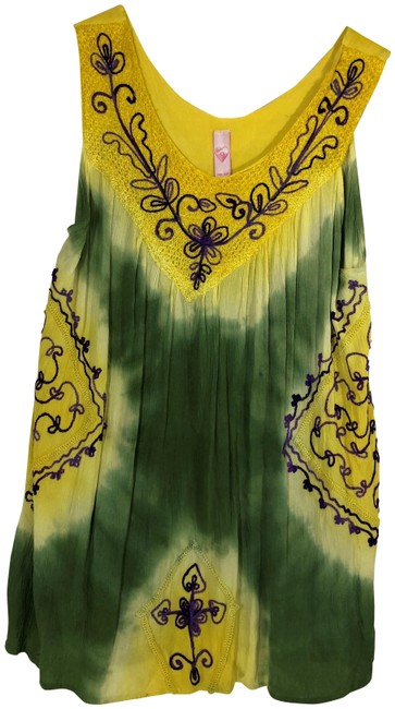 Miss Love Yellow Free Green Sleeveless Summer Embroidered Tunic Size 22 (Plus 2x) Miss Love Yellow Free Green Sleeveless Summer Embroidered Tunic Size 22 (Plus 2x) Image 1