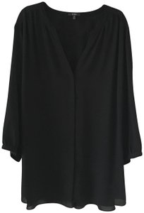 NYDJ Peasant V-neck Button Front Size 3x Top Black