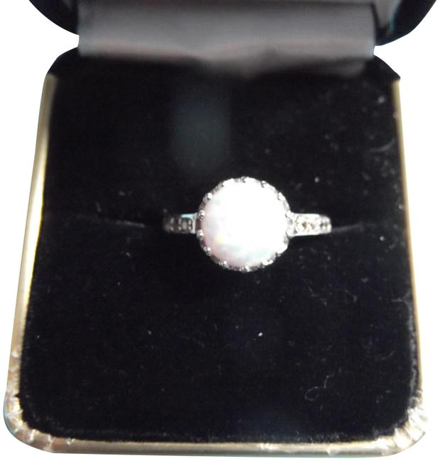 Item - White Pink Blue Opal with Sapphire Ring