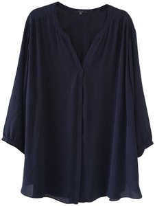 NYDJ V-neck Covered Button Front Quarter Sleeve Size 3x Top Blue