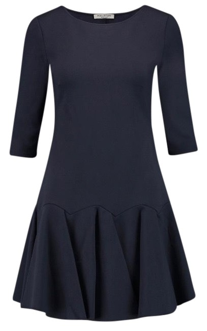 Item - Navy Heritage Pleated Ponte Mini 3/4 Sleeve Short Casual Dress Size 12 (L)