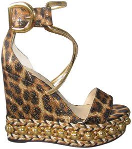 Christian Louboutin Studs Gold Studs With Box Red Sole Ankle Cuff Multicolor Wedges