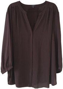 NYDJ V-neck Covered Button Front Quarter Sleeves Size 3x Top Brown