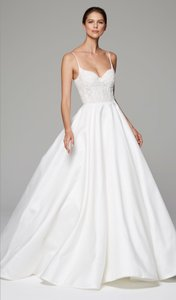 Anne Barge Silk White Demi Formal Wedding Dress Size 6 (S)