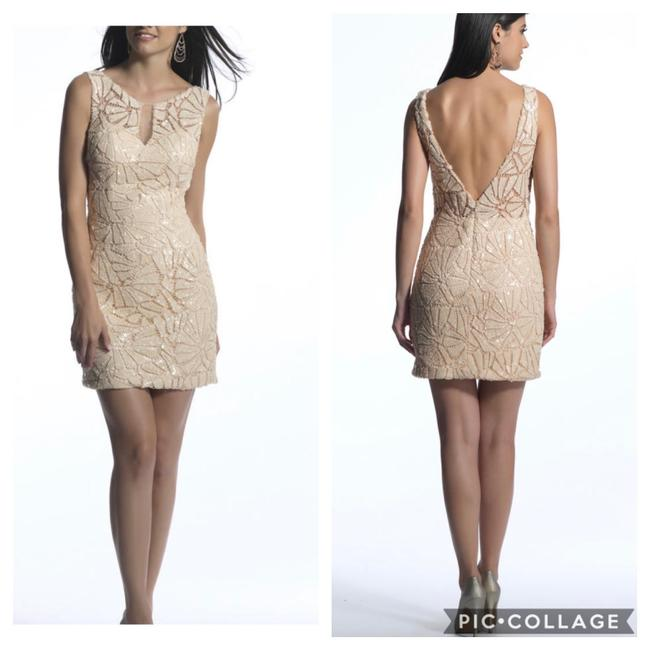 Preload https://img-static.tradesy.com/item/25649242/dave-and-johnny-champagne-sequin-short-cocktail-dress-size-2-xs-0-2-650-650.jpg