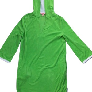 Lilly Pulitzer Green/white Terry Loth Hooded Cover-up