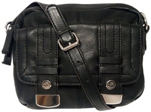 B. Makowsky Glove Leather Silver Hardware Double Stitching Metal Zippers Leather Pull-ties Cross Body Bag