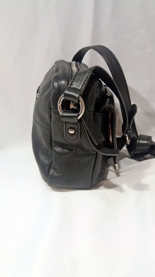 B. Makowsky Glove Leather Silver Hardware Double Stitching Metal Zippers Leather Pull-ties Cross Body Bag Image 1