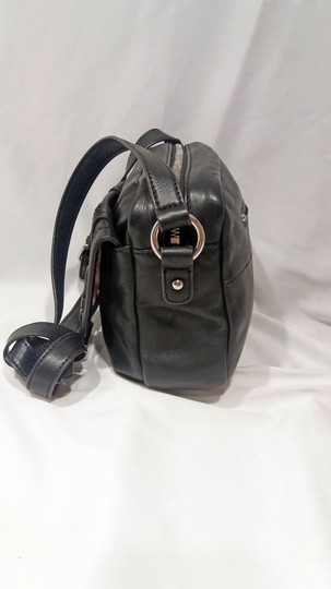 B. Makowsky Glove Leather Silver Hardware Double Stitching Metal Zippers Leather Pull-ties Cross Body Bag Image 2