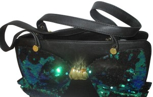 Betsey Johnson Gold Hardware Sequins Bow Signature Lining Satchel in Black