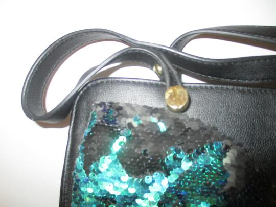 Betsey Johnson Gold Hardware Sequins Bow Signature Lining Satchel in Black Image 3
