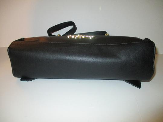 Betsey Johnson Gold Hardware Sequins Bow Signature Lining Satchel in Black Image 4