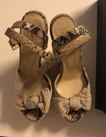taccetti off white/beige and snake skin Wedges Image 2