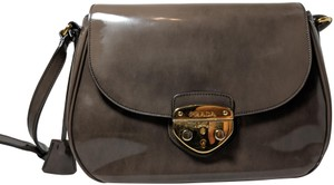 Prada Spazzolato Fume Patent Leather Gray Messenger Bag