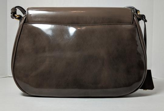 Prada Spazzolato Fume Patent Leather Gray Messenger Bag Image 1