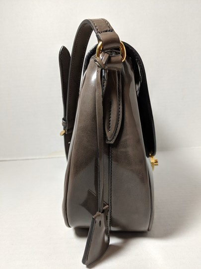 Prada Spazzolato Fume Patent Leather Gray Messenger Bag Image 4