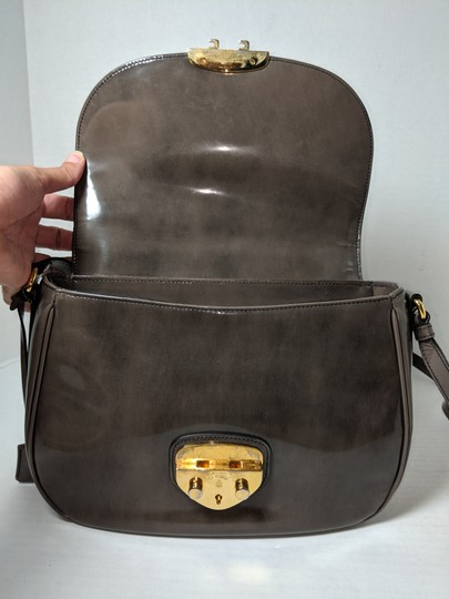 Prada Spazzolato Fume Patent Leather Gray Messenger Bag Image 8