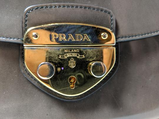 Prada Spazzolato Fume Patent Leather Gray Messenger Bag Image 9
