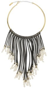 INC International Concepts INC Imitation Pearl & Grey Faux Suede Fringe Collar Necklace Up for Au