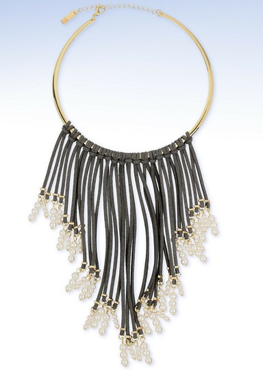 INC International Concepts INC Imitation Pearl & Grey Faux Suede Fringe Collar Necklace Up for Au Image 1