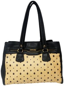 Olivia + Joy Straw Faux Leather Goldtone Hardware Polka Dot Bamboo Satchel in Black