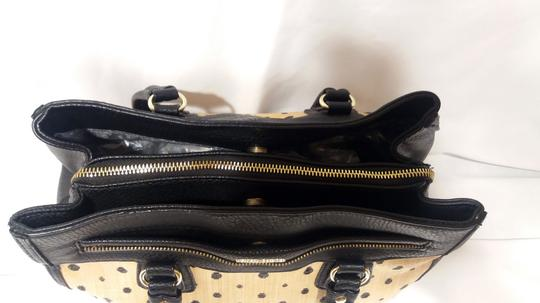 Olivia + Joy Straw Faux Leather Goldtone Hardware Polka Dot Bamboo Satchel in Black Image 2