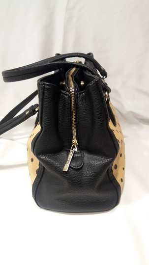 Olivia + Joy Straw Faux Leather Goldtone Hardware Polka Dot Bamboo Satchel in Black Image 4