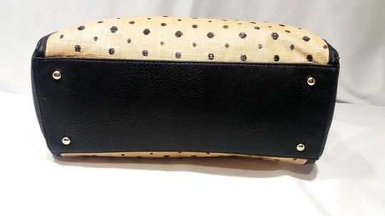 Olivia + Joy Straw Faux Leather Goldtone Hardware Polka Dot Bamboo Satchel in Black Image 5