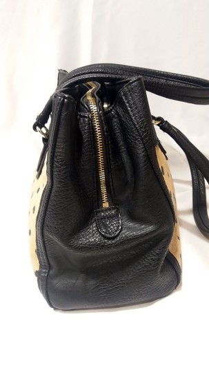 Olivia + Joy Straw Faux Leather Goldtone Hardware Polka Dot Bamboo Satchel in Black Image 7