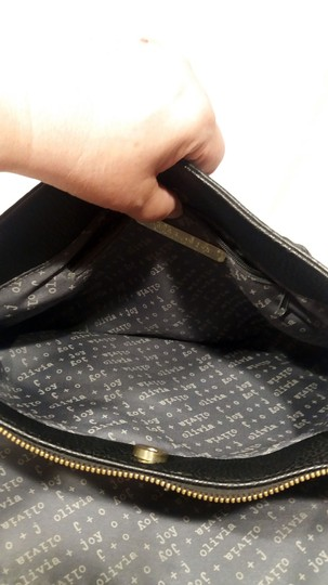 Olivia + Joy Straw Faux Leather Goldtone Hardware Polka Dot Bamboo Satchel in Black Image 8
