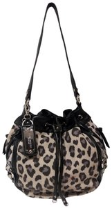 Tignanello Suede Leather Cinch Drawstring Silver Hardware Hobo Bag