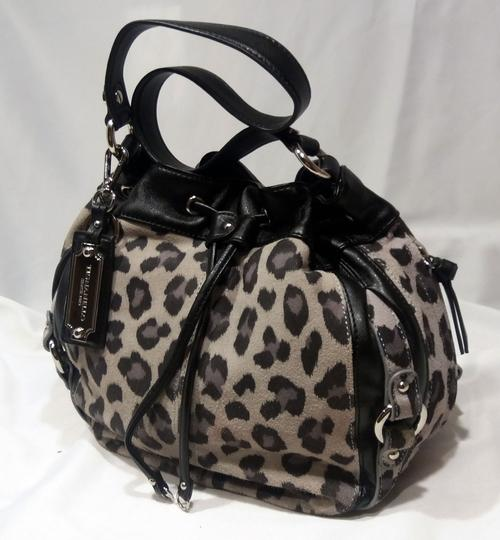 Tignanello Suede Leather Cinch Drawstring Silver Hardware Hobo Bag Image 1