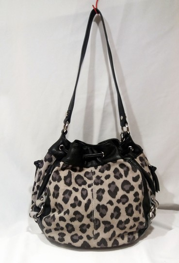 Tignanello Suede Leather Cinch Drawstring Silver Hardware Hobo Bag Image 2