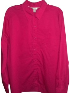 White Stag Long Sleeve Button Front Blouse New Button Down Shirt Fucshia