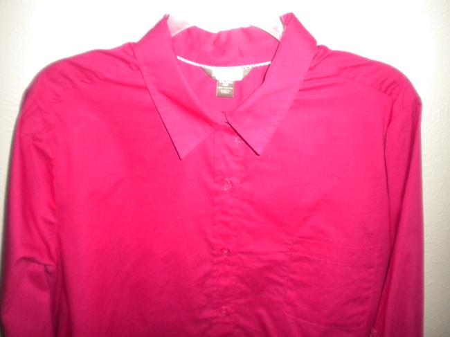 White Stag Long Sleeve Button Front Blouse New Button Down Shirt Fucshia Image 1