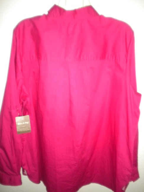 White Stag Long Sleeve Button Front Blouse New Button Down Shirt Fucshia Image 2