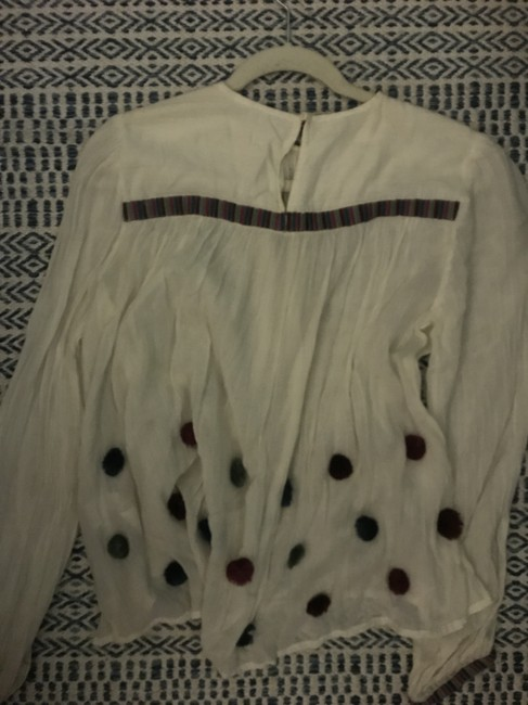 Zara Boho Bohemian Embellished Summer Comfortable Top White Multi Image 4