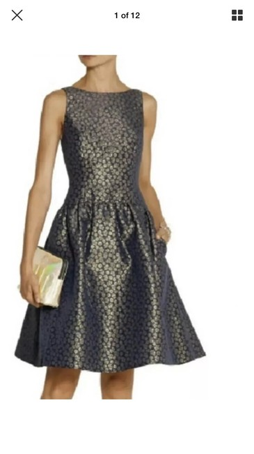 Preload https://img-static.tradesy.com/item/25649657/jcrew-navy-blue-and-gold-e1395-mid-length-night-out-dress-size-8-m-0-0-650-650.jpg