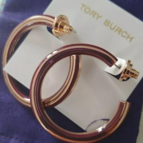 Tory Burch Stretched T logo hoop earrings Image 2