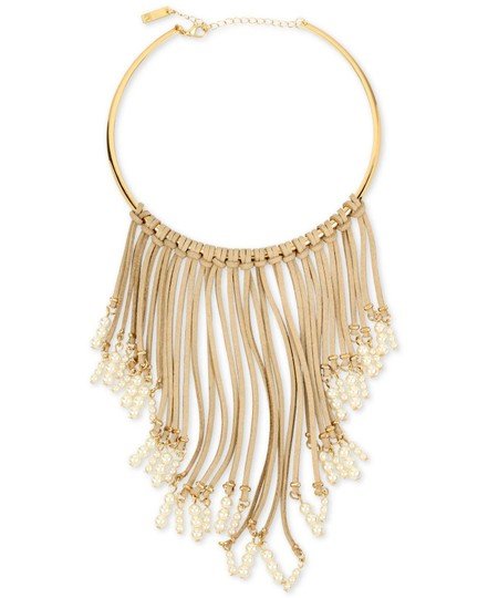 INC International Concepts INC Imitation Pearl & Beige Faux Suede Fringe Collar Necklace Up for A Image 1